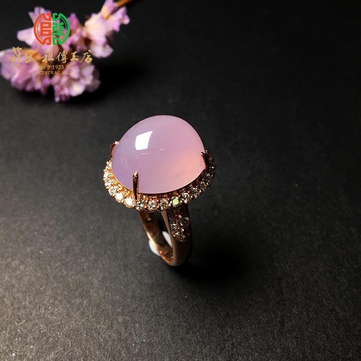 冰种粉紫翡翠蛋面戒指